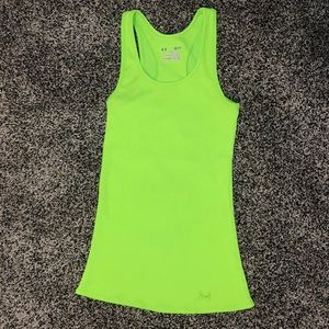 Under Armour neon green ribbed tank small fitted